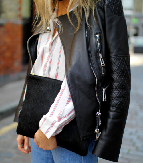 leather jacket black clutch